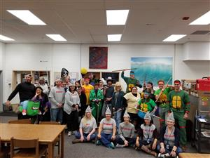 Teachers at Wetsel Middle School celebrating Halloween