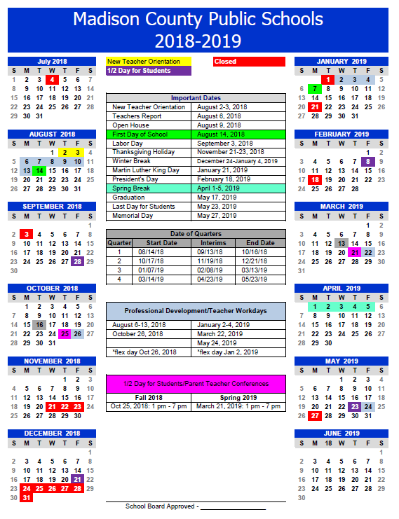 Proposed 2018-2019 School Calendar