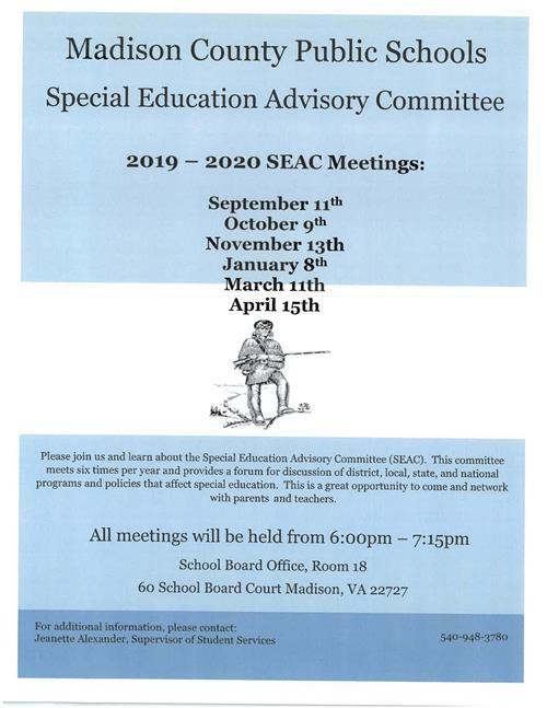Special Education Advisory Committee Meeting Schedule