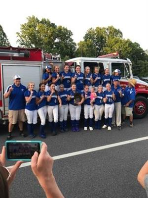 Softball State Champions With Fire and Rescue Escort